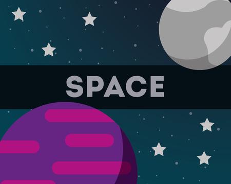 space solar system moon planet stars background vector illustration 版權商用圖片