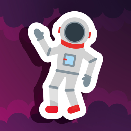 space astronaut greeting purples clouds vector illustration