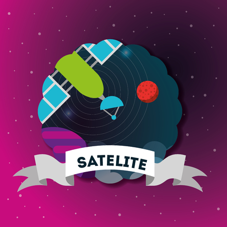 space solar system sticker cosmic satelite signal planets vector illustration