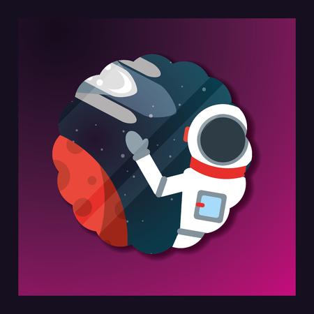 space sticker astronaut greeting rocket planet vector illustration 向量圖像
