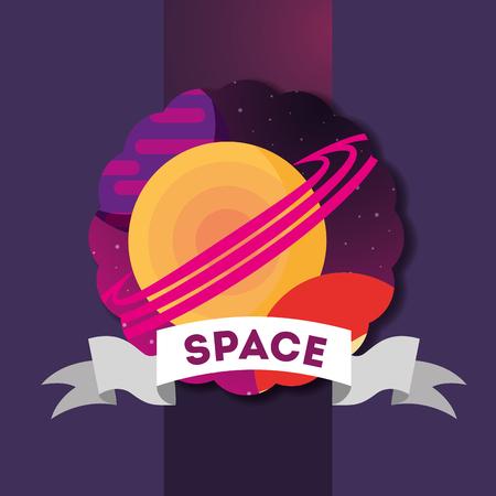 space solar system sticker planets saturn ribbon sign vector illustration