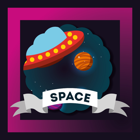 space frame sticker ufo planets explore vector illustration