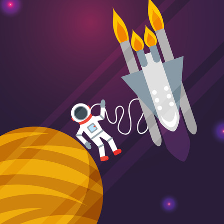 space solar system astronaut connection rocket planet vector illustration