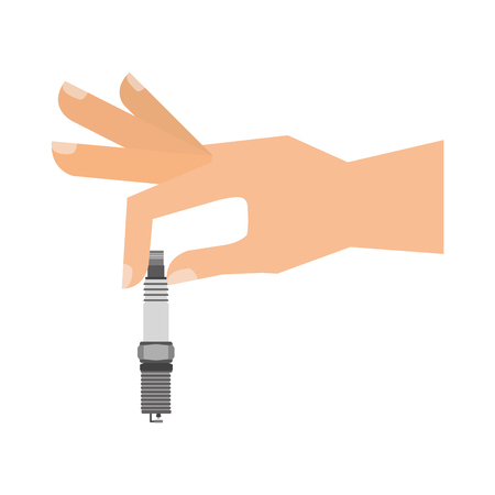 hand holding auto spare part spark plug vector illustration