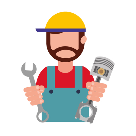 beard mechanic in uniform with piston and wrench vector illustration
