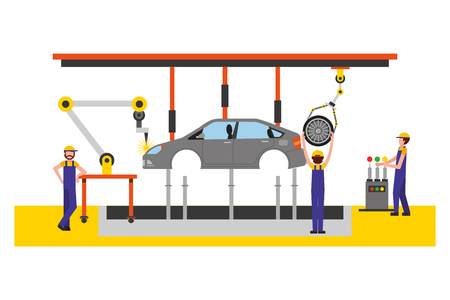 workers robot arms and assembly line automotive industry vector illustration Stock Vector - 111537146