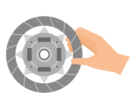 hand with clutch plate auto spare part vector illustration