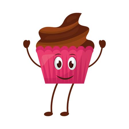Happy Cupcake kawaii süße Maskottchen-Vektor-Illustration