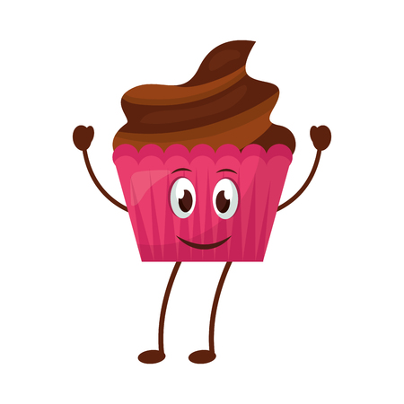 happy cupcake kawaii sweet mascot vector illustration Çizim