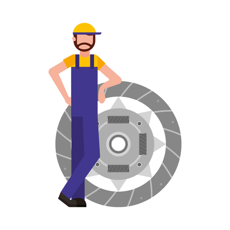 mechanic with clutch plate auto repair service vector illustration
