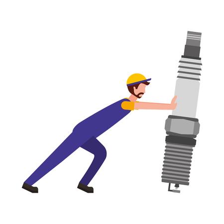 beard mechanic pushing spark plug automotive part vector illustration