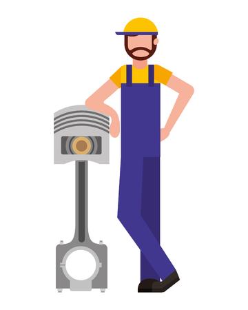 beard mechanic with automotive piston part vector illustration Çizim
