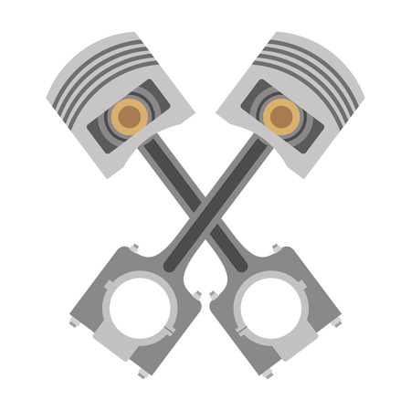 two crossed pistons spare parts car vector illustration