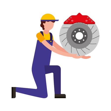 mécanicien sur le genou avec illustration vectorielle de disque de frein pièce auto Vecteurs