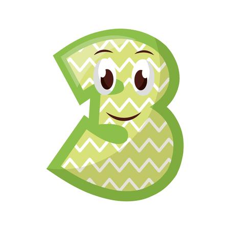 kawaii number character cartoon comic vector illustration Ilustrace
