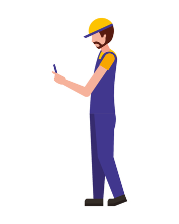 worker using cellphone wearing sport cap and uniform vector illustration