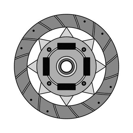 plaque d'embrayage auto pièce de rechange système mécanique illustration vectorielle