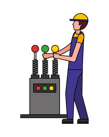 auto mechanic with control machine engine vector illustration