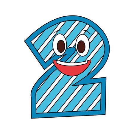 kawaii number character cartoon comic vector illustration Иллюстрация