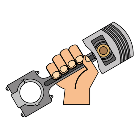 hand holding auto spare part piston vector illustration