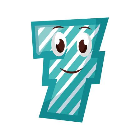 kawaii number character cartoon comic vector illustration Illustration