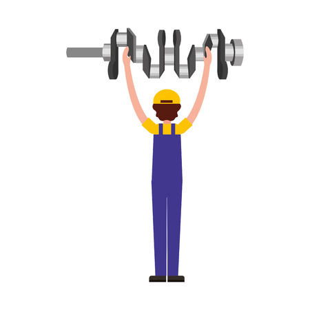 auto mechanic with cam tree spare part vector illustration 向量圖像