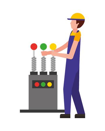 auto mechanic with control machine engine vector illustration Banque d'images - 107201375