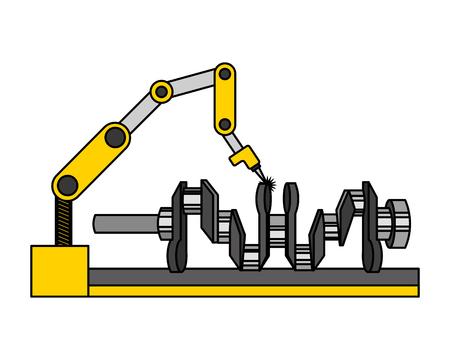 automotive part camshaft with robotic arm vector illustration Illustration