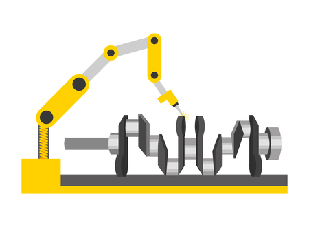 automotive part camshaft with robotic arm vector illustration Ilustração