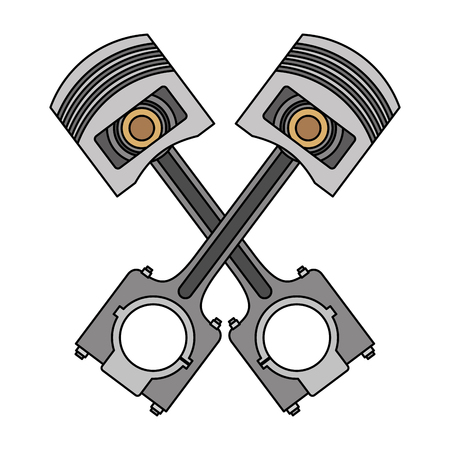 two crossed pistons spare parts car vector illustration Archivio Fotografico - 107206415