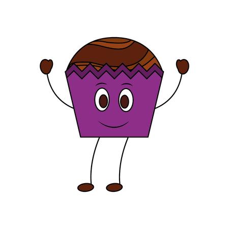 Happy Cupcake kawaii süße Maskottchen-Vektor-Illustration Vektorgrafik