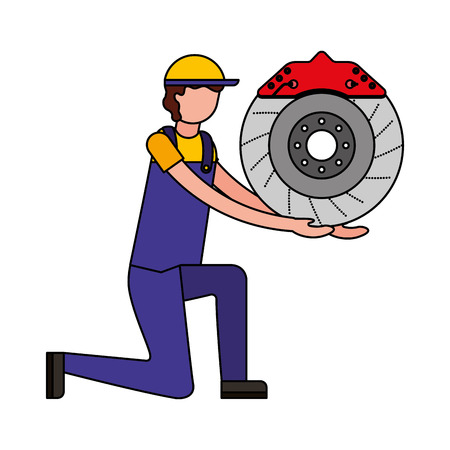 mechanic on the knee with brake disc auto part vector illustration