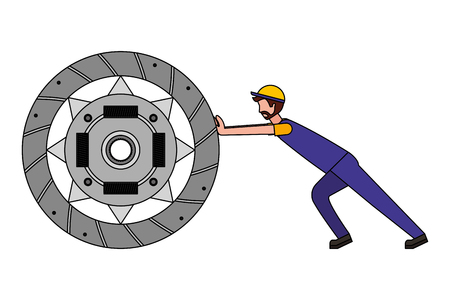 mechanic pushing clutch plate auto part vector illustration