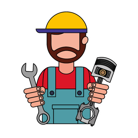 beard mechanic in uniform with piston and wrench vector illustration Banque d'images - 111537211
