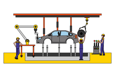 workers robot arms and assembly line automotive industry vector illustration