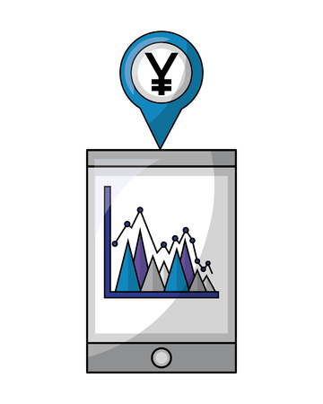 tablet device and pin location with symbol crypto money vector illustration design