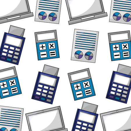 calculator with documents and voucher vector illustration design Illustration