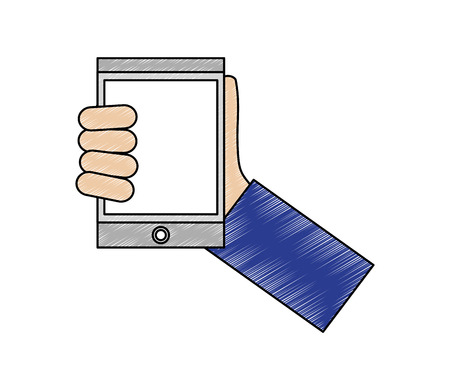 hand with tablet device isometric icon vector illustration design Ilustrace