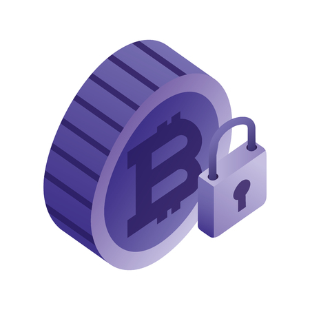 bitcoin virtual with padlock isometric icon vector illustration design