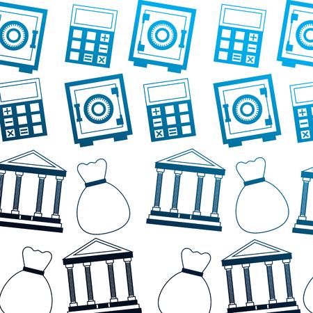 business bank money bag safe box calculator pattern vector illustration neon