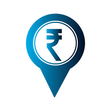 rupee coin currency money pointer location vector illustration neon