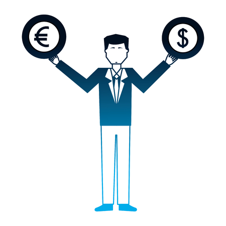 business man with coins dollar euro in hands vector illustration neon Illustration