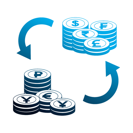 foreign exchange pile coins currency tranfer money vector illustration neon 写真素材 - 111537292