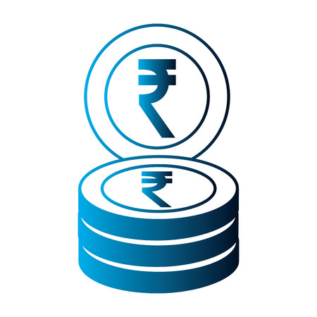 indian ruppe coins stack business money vector illustration neon