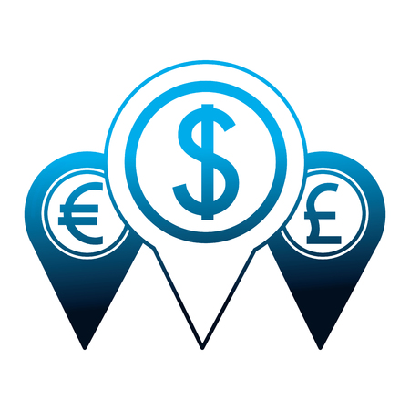 pointer location money dollar euro and pound vector illustration neon Banco de Imagens - 111537298
