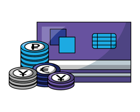 bank credit card stacked coins currency vector illustration Иллюстрация