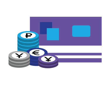 bank credit card stacked coins currency vector illustration Illustration