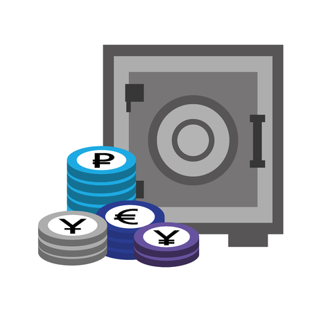 business safe box stack coins money vector illustration
