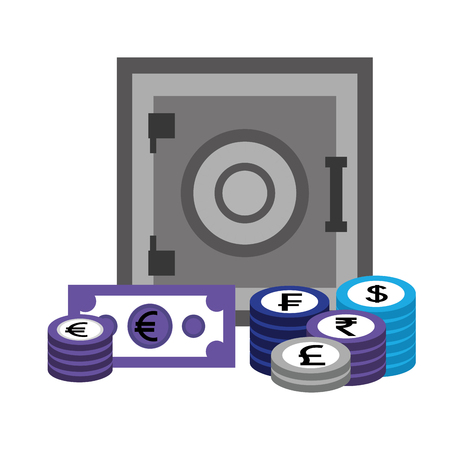 safe box money banknote coins currency vector illustration 写真素材 - 111537319