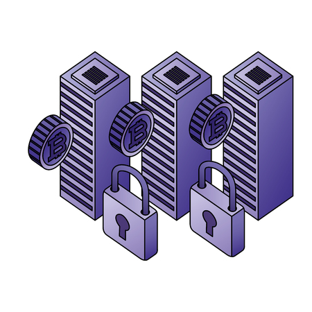 dataserver center bitcoin security network vector illustration